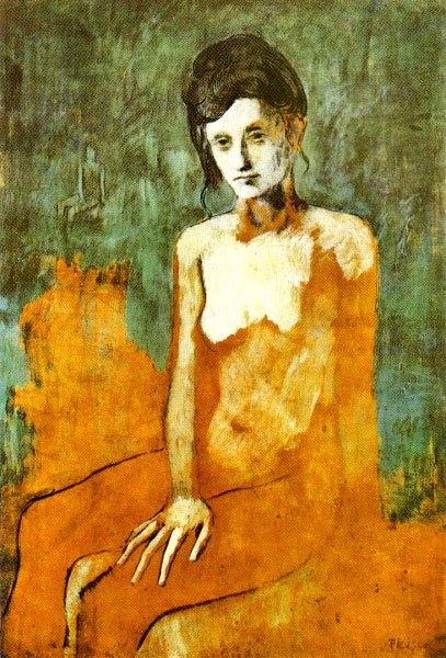 Seated female nude by Pablo Picasso. Rose period