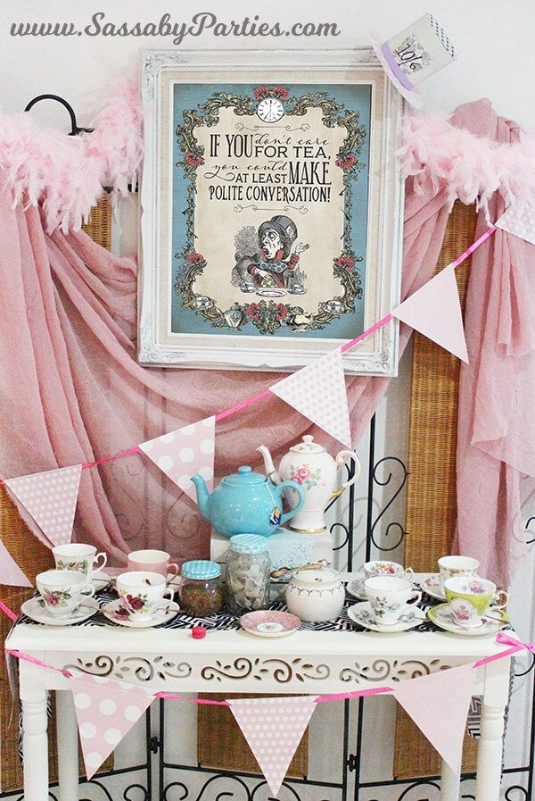 Mad Hatter Tea Party Poster - INSTANT DOWNLOAD - Alice in Wonderland Pastel Birthday Baby Shower Printable Sign Decoration by SassabyParties on Etsy https://www.etsy.com/listing/385481914/mad-hatter-tea-party-poster-instant