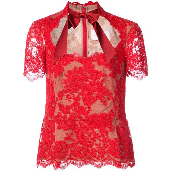 Marchesa lace peplum blouse (20.157.120 IDR) ❤ liked on Polyvore featuring tops, blouses, red, marchesa, red lace peplum top, lace peplum blouse, lace peplum top and red blouse