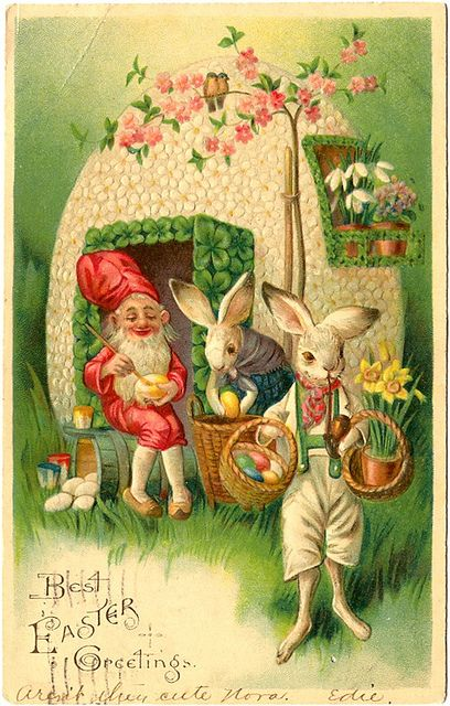 Best Easter Greetings (gnome with bunny rabbits) - Postcard dated 1907