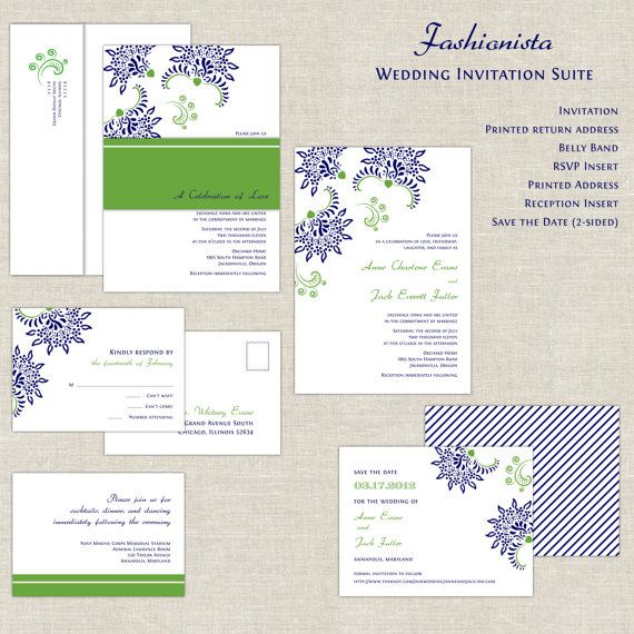 Navy Blue & Kelly Green Wedding Invitations by paperimpressions, $322.50