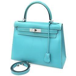 エルメス ハンドバッグ ケリー28 外縫い ブルージーン×シルバー金具 ボックスカーフ E刻印 HERMES Kelly バッグ