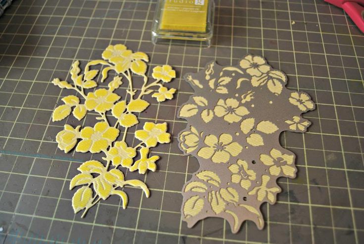 Die cut was cut out in a pale yellow cardstock. then sponge dauber was used with a darker yellow pigment ink to color all exposed areas in the die.