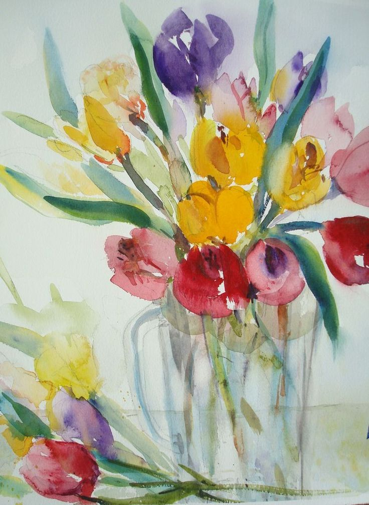 Paint Glowing Tulips In Watercolor Blumen Aquarell Aquarell