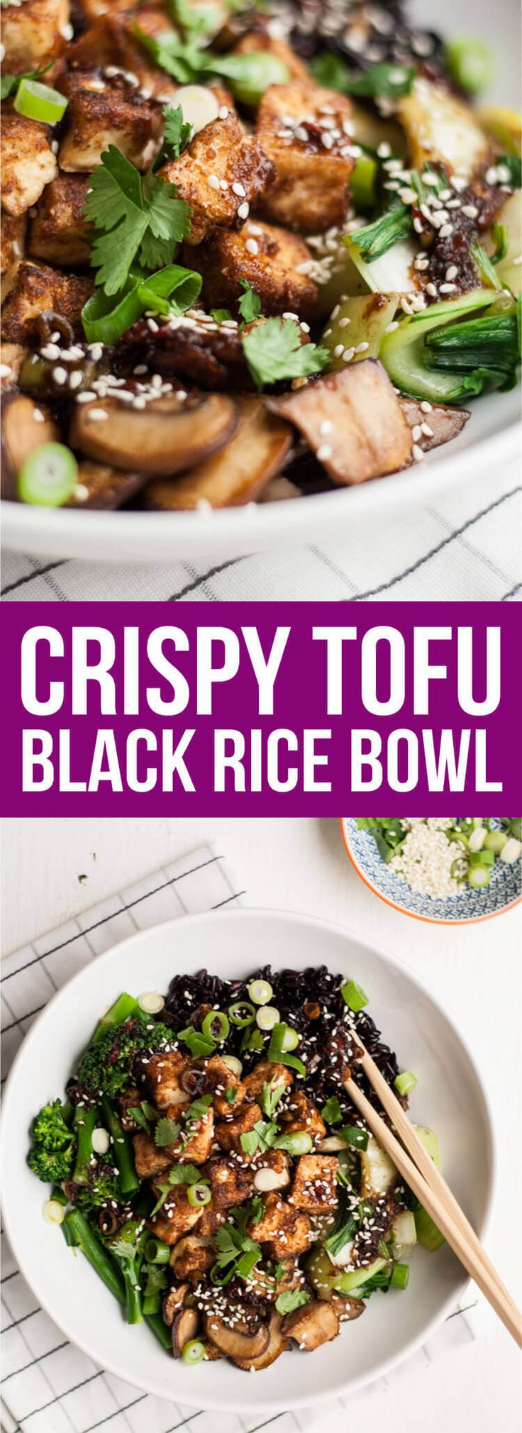 Crispy Tofu Black Rice Bowl - this vegan recipe is infused with Asian flavours, is quick and easy to make and is loaded with crispy, flavoursome tofu | eatloveeats.com