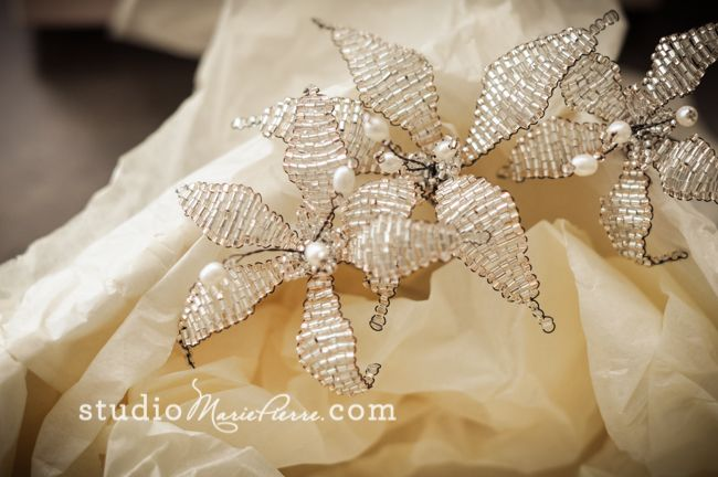 Olivia's Shorter Hair, Vintage Inspired Updo | Key West Destination Wedding. Lily hair pins by http://www.staceyhannandesigns.com/a-selection-of-gold-lily-flower-wedding-hair-pins/
