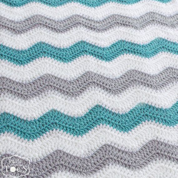 Aqua and Gray Baby Boy Chevron Blanket Crochet Blue by puddintoes