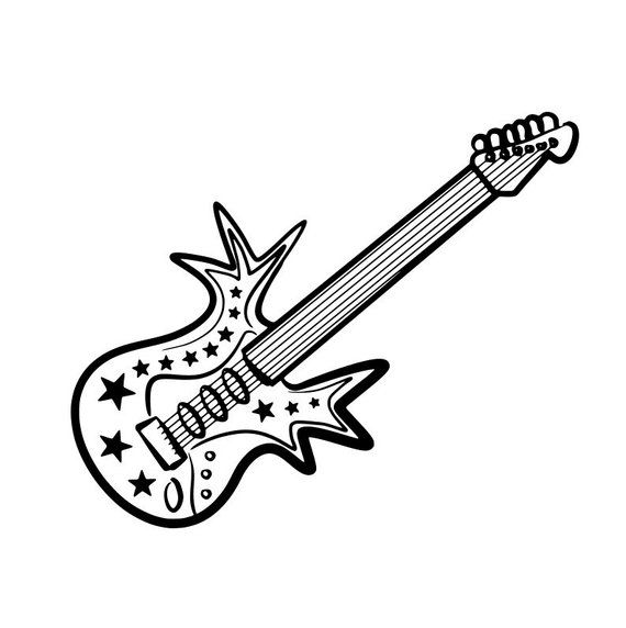 Guitar Logo Svg Electric Electrical Instrument Rock N Roll Music