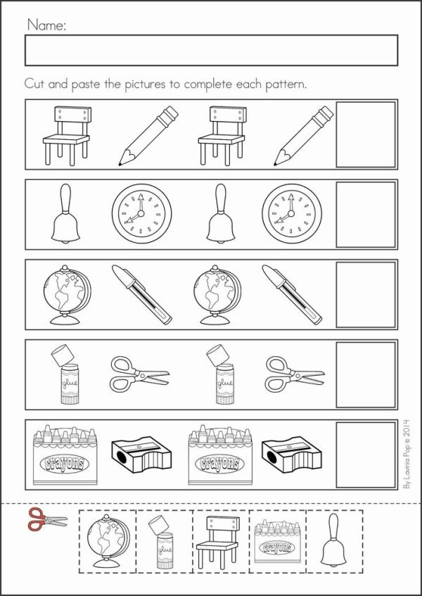 Kindergarten Back to School Math & Literacy Worksheets and Activities. 135 pages. A page from the unit: AB patterns by bertha