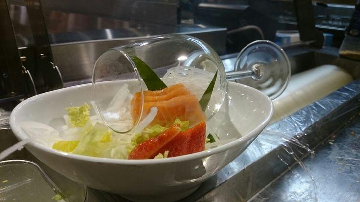 Healthy salmon sashimi,  ;-)