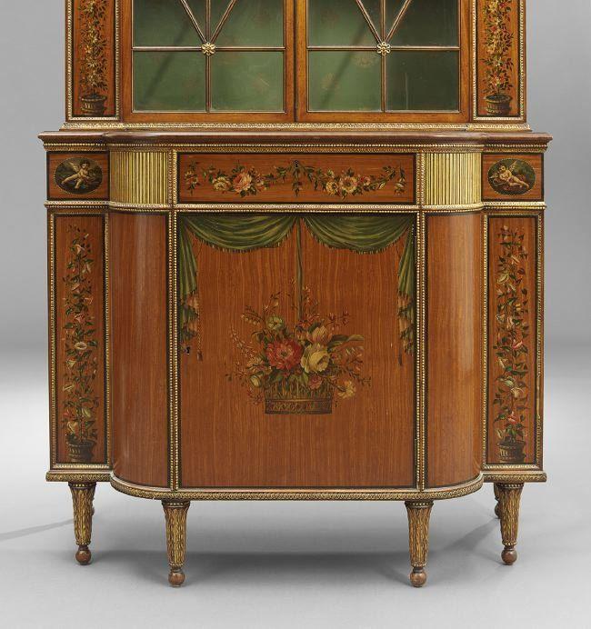 Pair Of Edwardian Style Satinwood Cabinets : Lot 576