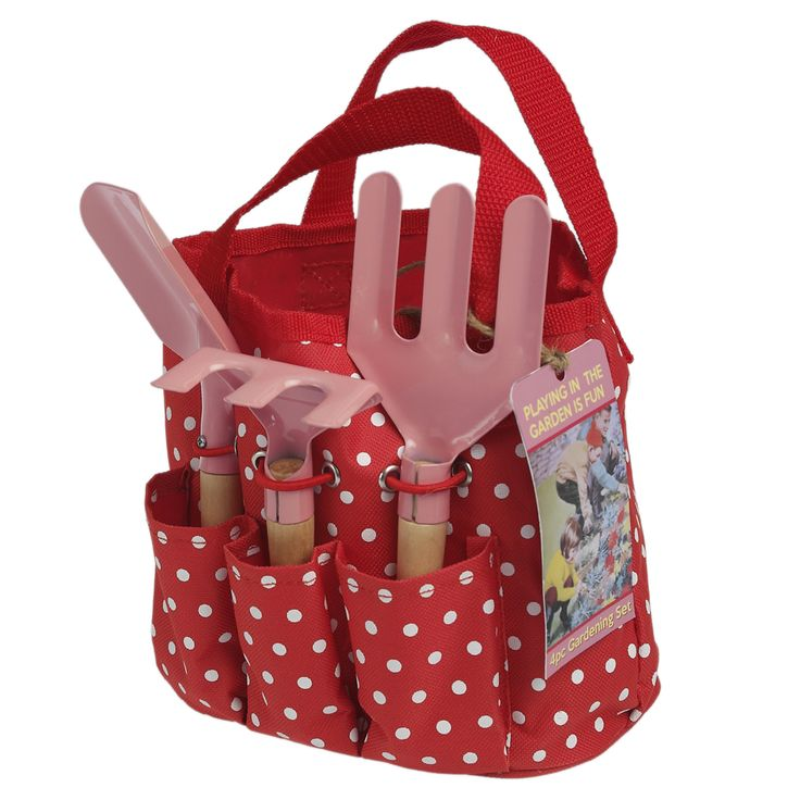 Children's Garden Tool Set in a red spotty trug bag - includes hand troll, rake and fork.