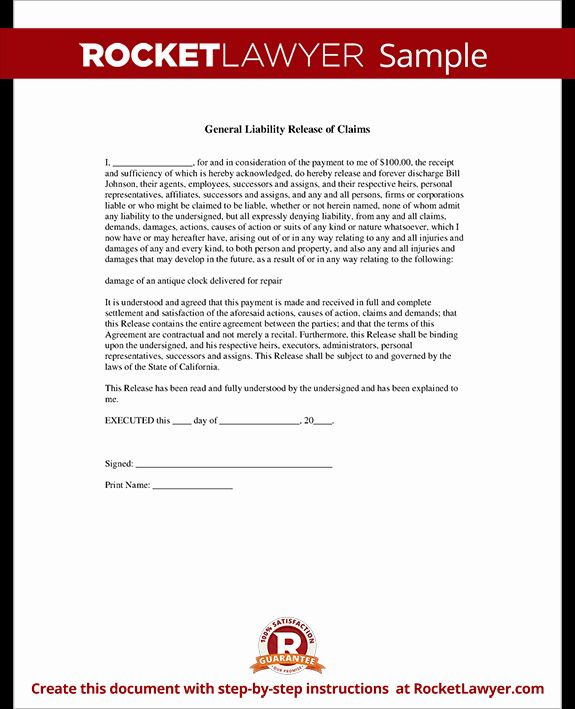 General Liability Waiver Form Template Lovely General Liability Release Of Claims Form General Liability Liability Waiver Business Letter Template