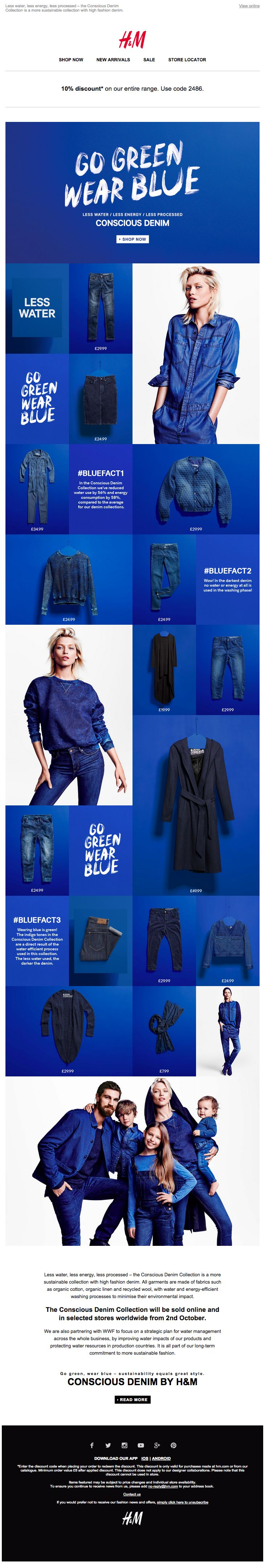 Attention-grabbing email from H&M - Go Green Wear Blue 02.10.2014. Eye-catching use of colour and lovely, simple use of GIF but still looks awful on mobile!
