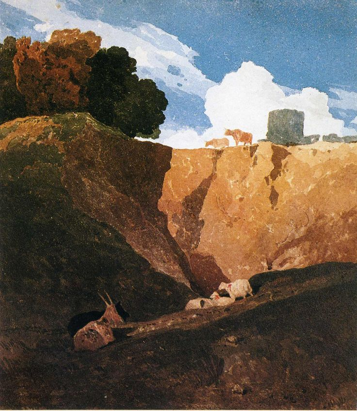 JOHN SELL COTMAN  ( Norwich 1782 - London 1842 ). THE MARL PIT . about 1809. watercolour . 11 × 10 in.