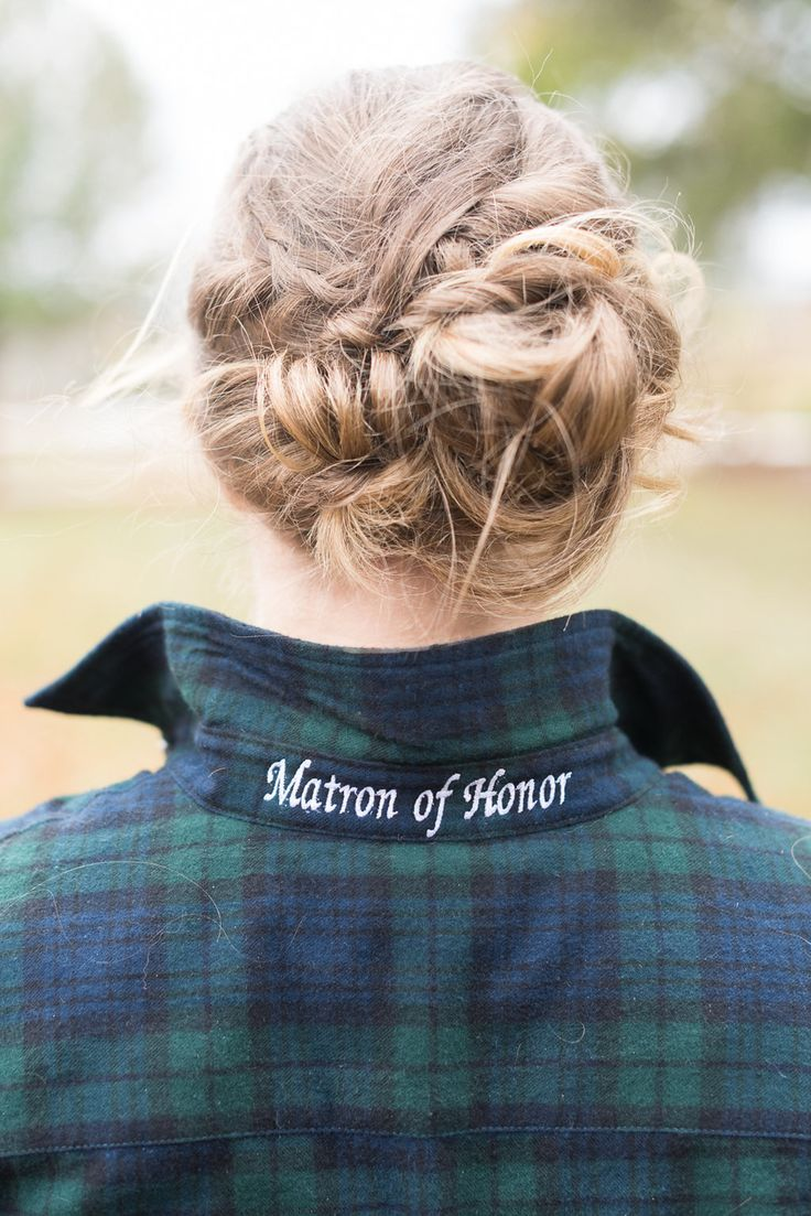 Bridesmaid gift, maid of honor, plaid shirt, embroidered collar // Jackie Averill Photography