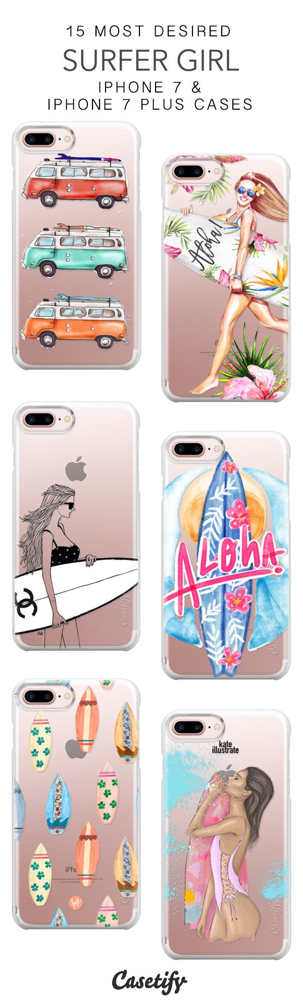 15 Most Desired Surfer Girl Protective iPhone 7 Cases and iPhone 7 Plus Cases. More Summer Surfing iPhone case here > https://www.casetify.com/collections/top_100_designs#/?vc=q7rmaBUZnX