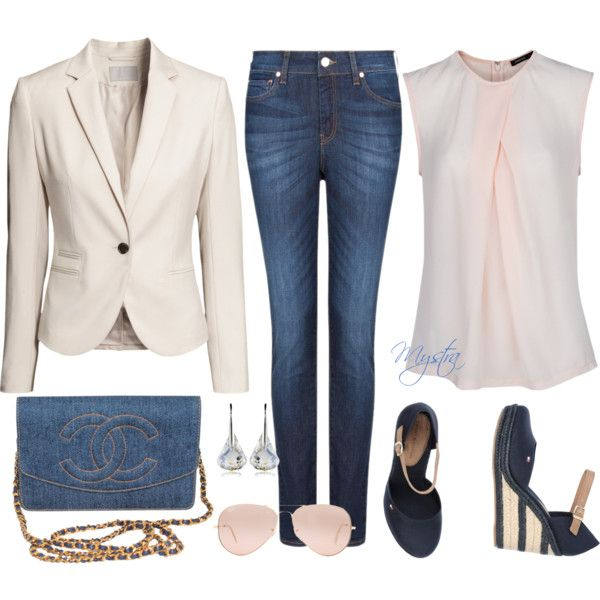 """Beige blazer with jeans"" by cafemystra on Polyvore"