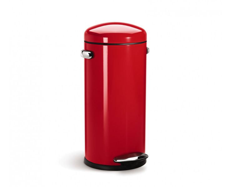 Touchless Trash Can >> simplehuman 30L red steel retro step trash can - why get a diaper pail that you can't use once ...