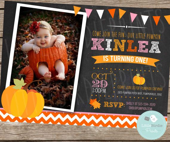PUMPKIN INVITATION Chalkboard Chevron First Birthday invitation Birthday Party with cute bunting --- Autumn Fall Harvest Theme Girl Pink on Etsy, $15.00