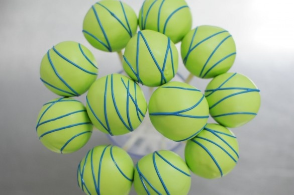 Blue and Lime cake pops with LA Marathon tag?