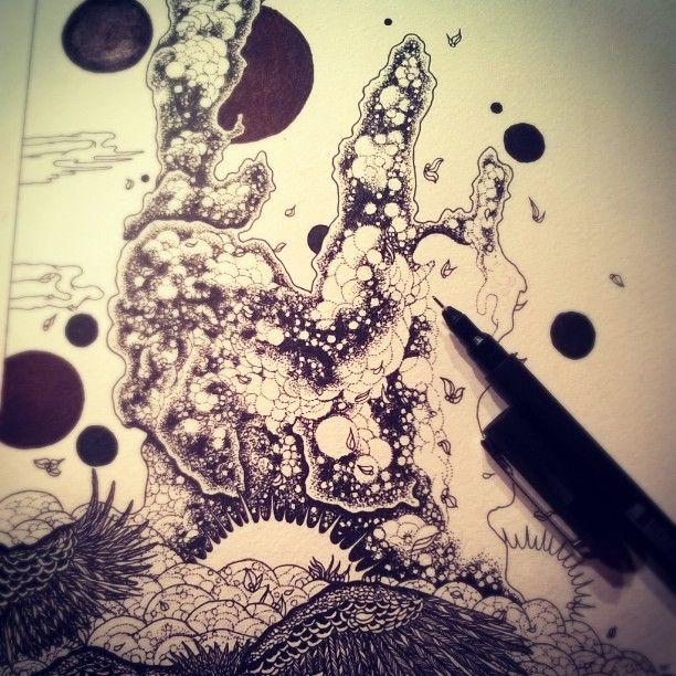 #drawing #penandink #blackart #blackink #pillarsofcreation #universe #spiritism #illustration #albumart #darkart #graphic #blackwork #dotwork #vulture # pointilism #blackandwhite
