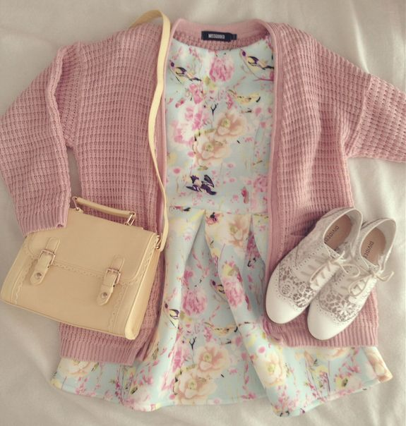 Pastel girl next door look with the mint pastel floral dress, pale pink cardigan, pastel pink beige satchel, and floral oxfords.