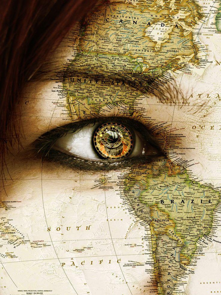 Hair=ocean eye=clock face=have map eyebrow=mountains lash-line=waterfall w/ tear…