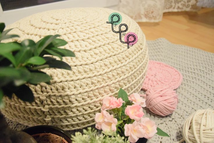 Crochet pouf made from cotton cord Pufa robiona na szydełku z bawełnianego sznurka You can order it at/Można ją zamówić na: www.facebook.com/pif.paf.puf.gliwice