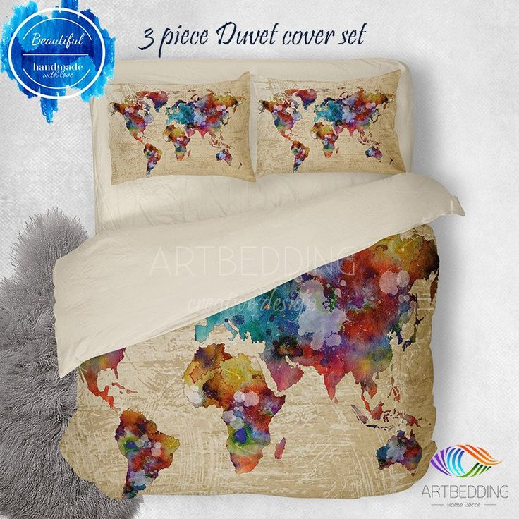 33 best wanderlust watercolor abstract boho world map duvet cover watercolor world map bedding boho map duvet cover set abstract map comforter set publicscrutiny Image collections