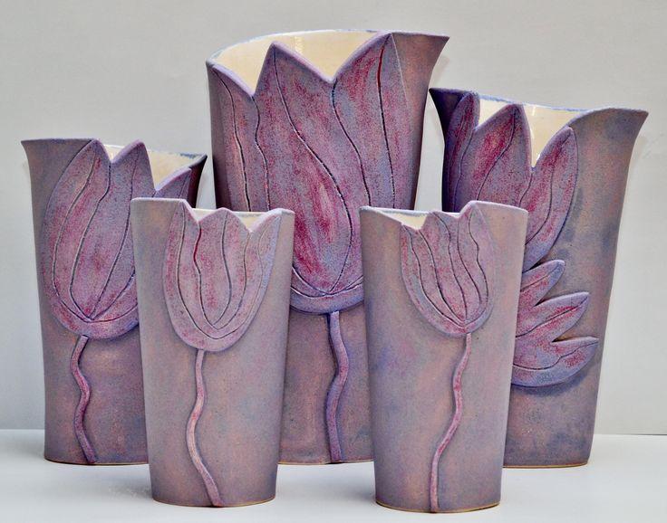 purple tulip vases