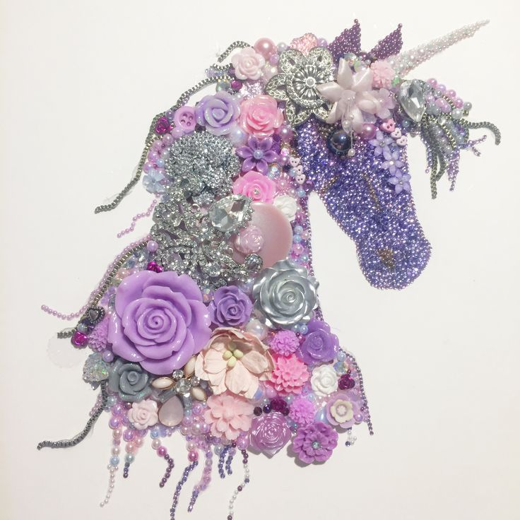 Unicorn  button art, beads rhinestones recycled jewellery super sparkly prettiness ✨✨