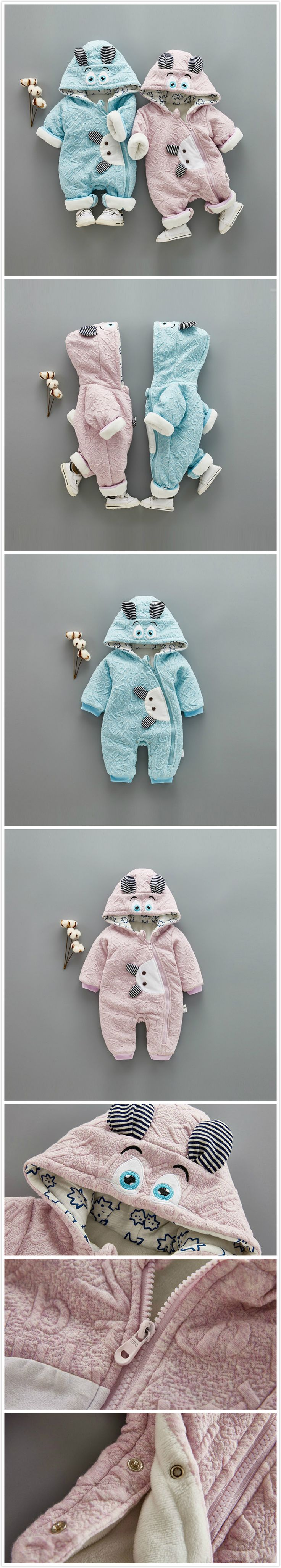 2-Color Cartoon Baby Unisex Hooded Winter Warm Jumpsuit https://presentbaby.com