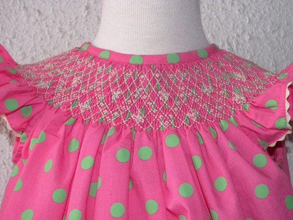 SALE Pink bishop Smocked dress, pink polka dots dress, smocked girl dresses, baby smocked clothing, infant smocked clothing szs 18m up to 3T on Etsy, $38.00