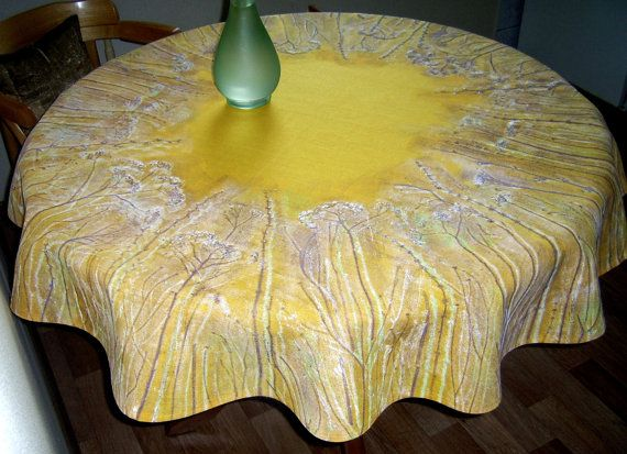 Yellow Tablecloth Linen 47  Hand Painted Floral Round by olyiri