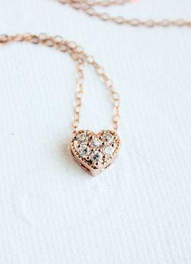 Rose Gold Necklace Rose Gold Heart Necklace Rose