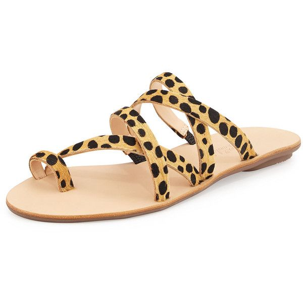 Loeffler Randall Sarie Leopard-Print Calf-Hair Sandal ($210) ❤ liked on Polyvore featuring shoes, sandals, brown pattern, brown strappy sandals, leopard flats, flat shoes, leopard calf hair flats and strappy sandals