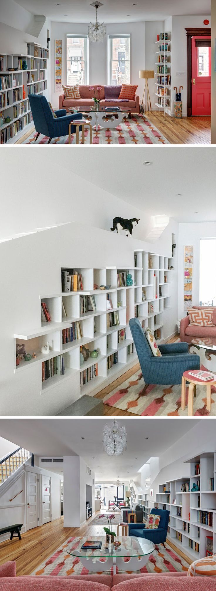 A Built In Bookcase Designed For Cats Lines An Entire Wall This Home