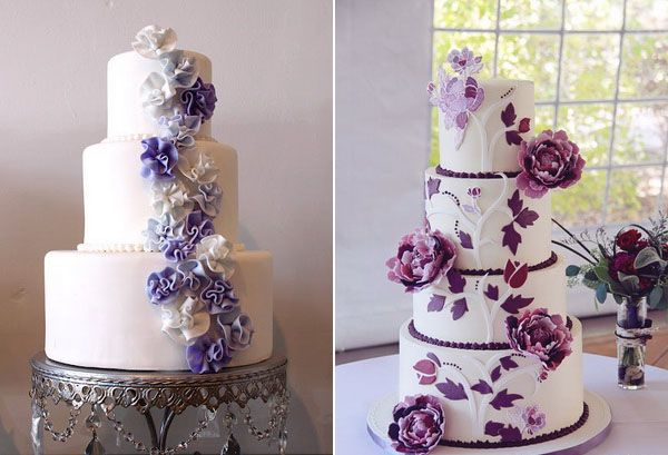 A collection of the best purple wedding cakes that come in different styles, sizes, decorations, tier numbers, and purple hues.