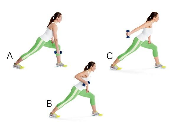 Single-Arm Row to Kick-Back: Come into a lunge on left leg, left knee bent and left hand on left thigh. Extend right arm toward floor, holding 1 dumbbell in right hand (A). Bend right elbow and raise dumbbell toward shoulder (B). Straighten elbow and extend arm behind you (C). Bring dumbbell back to side, then lower it to starting position. Complete reps. Repeat on opposite side.