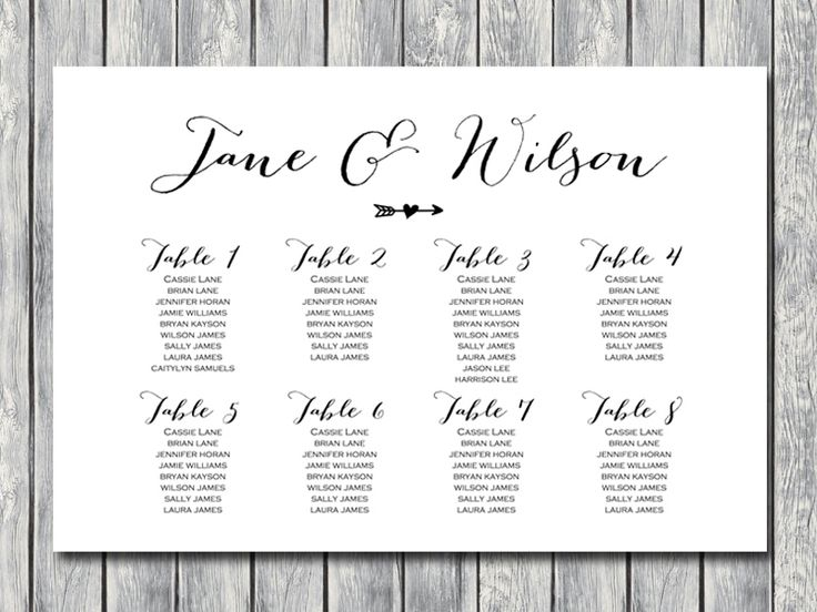 Arrow Wedding Seating Chart Template, Instant Download, Free Wedding Seating Charts, Find your Seat Charts, Free…