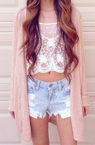 Lace Crop Top, Jeans Shorts