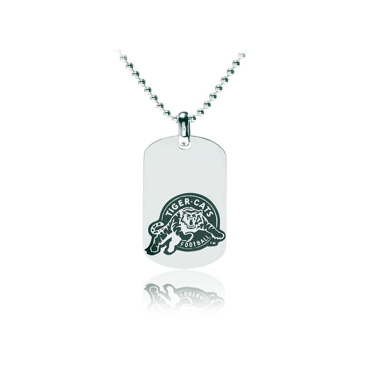 "Ladies sterling silver Hamilton Tiger-Cats dog tag and 30"" beaded chain. Measurements of dog tag 29mm x 22mm."