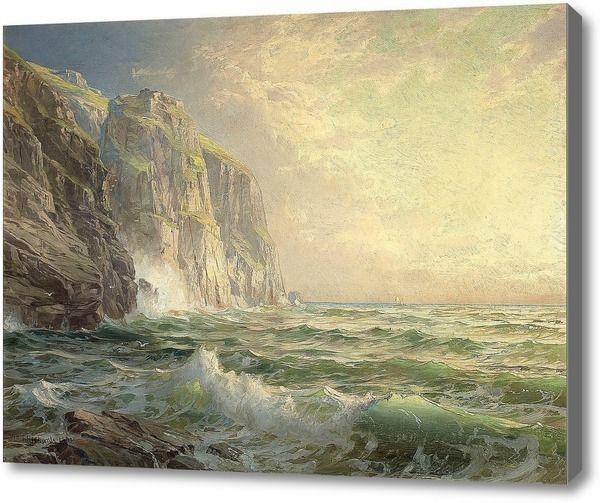 """Репродукция картины """"Скалистый утёс с бурным морем Корнуолл"""". Картина маслом на холсте """"Скалистый утёс с бурным морем Корнуолл"""""""