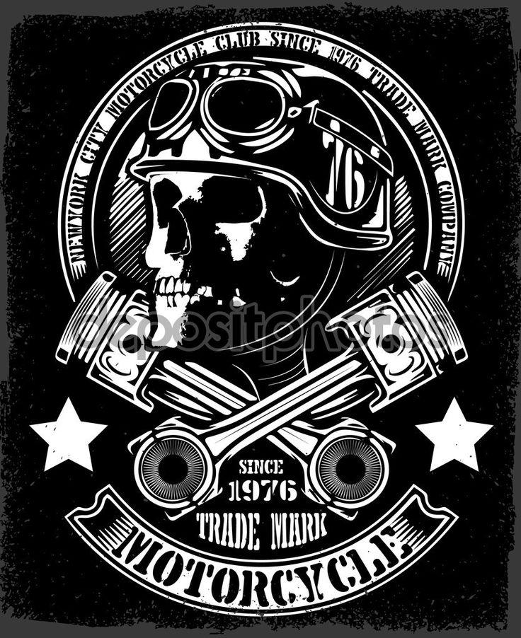 Baixar - Crânio de motociclista vintage com emblema de pistão cruzados — Ilustração de Stock #97478082