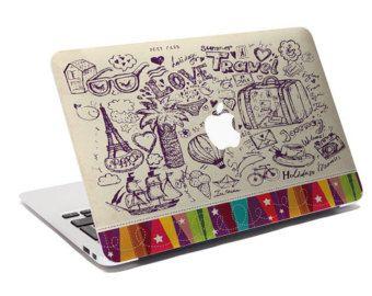 Macbook Decal / Creative Sticker for Computer / Love & Travel / Apple Logo 767.822.738