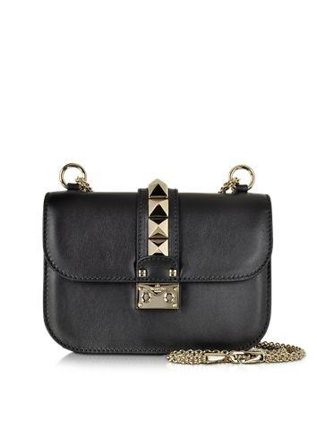 Valentino+Black+Leather+Small+Chain+Crossbody+Bag