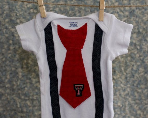 Texas Tech Baby Onesie with Tie Shirt Outfit by TheTwistedK