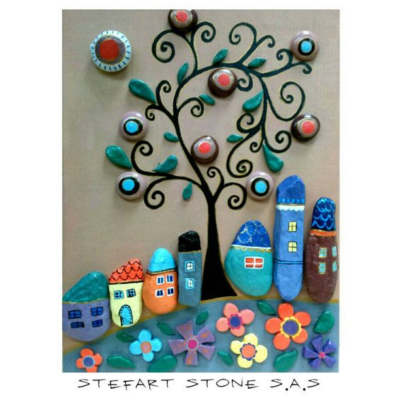 Pebble Art Happy Village Handpainted stones Stone by StefArtStone Mais
