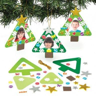 Sets met houten fotolijstjes in de vorm van kerstbomen